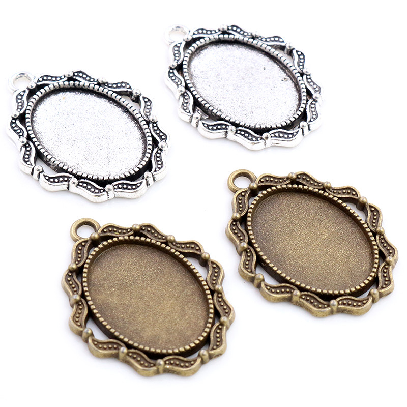 10pcs 18x25mm Inner Size Antique Silver Plated Bronze Flowers Style Cameo Cabochon Base Setting Pendant Necklace Findings