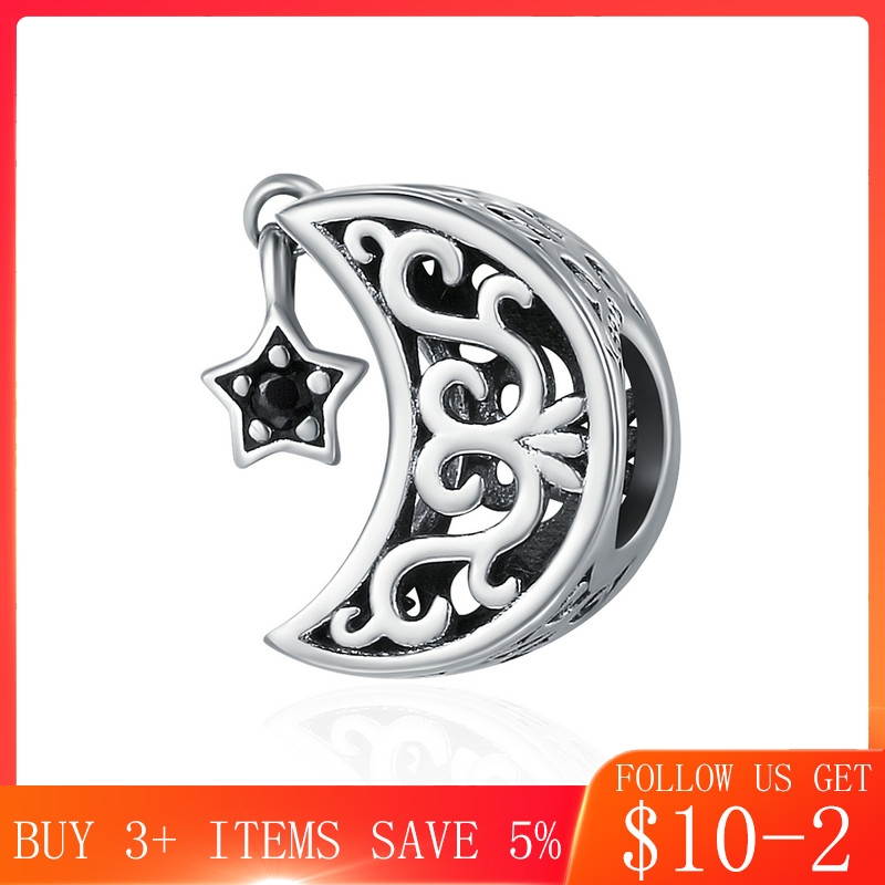 CodeMonkey 100% 925 Sterling Silver Openwork Moon And Star Goodnight Charm Beads Fit Bracelet DIY Jewelry Valentine Day Gift 483