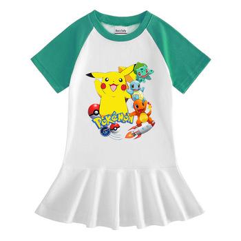 Pokemon Pikachu kreskówka sukienka dziewczynek sukienka letnia koszulka z krótkim rękawem sukienki ubrania dla dzieci Party Princess Dress ubrania tanie i dobre opinie TAKARA TOMY Dziewczyny COTTON 7-12m 13-24m 25-36m 4-6y 7-12y 12 + y CN (pochodzenie) Lato Do kolan O-neck REGULAR SHORT