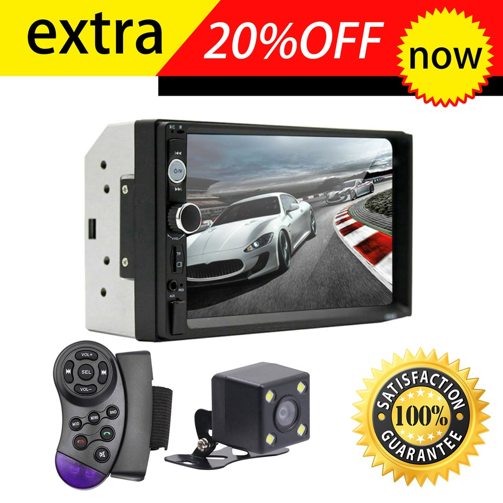 7010B 7 Inch DOUBLE 2DIN Car MP5 Player BT Touch Screen Stereo Radio HD Multimedia player 4 Light Camera Direction Control