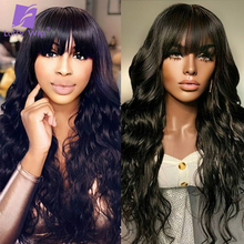 Human-Hair-Wigs Women Brazilian 180%Density Bangs Wave Made-Wig-Glueless Luffywig Black