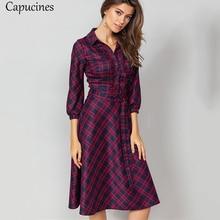 Plaid Dress Capucines Vintage Lantern Ruffles-Trim Women Casual 3/4-Sleeves Autumn A-Line