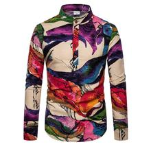 Casual Shirt Men Blouse Fashion multicolor Linen Shirts Men Stand collar Unique button design Long sleeves New stand collar fashion leaves printed vintage button design shirts for men