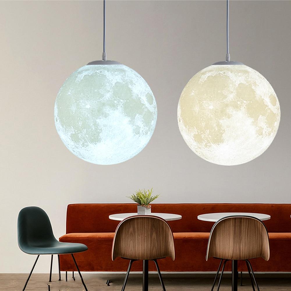 3D Print Moon Pendant Lights Novelty Creative Atmosphere Light 18W AC110-220V Moon Hanging Lamp For Bedroom Home Decoration