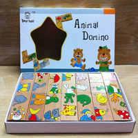 Trasporto libero Classico In Legno 15PCS Animale Puzzle di Domino Giocattolo, di legno Learning education giocattolo del bambino del fumetto animali puzzle di puzzle del giocattolo