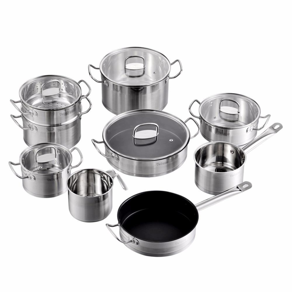 Velaze כלי בישול סט 14 חתיכה נירוסטה מטבח בישול סיר & פאן סטים, אינדוקציה בטוח, סיר, תבשיל, עם מכסה זכוכית