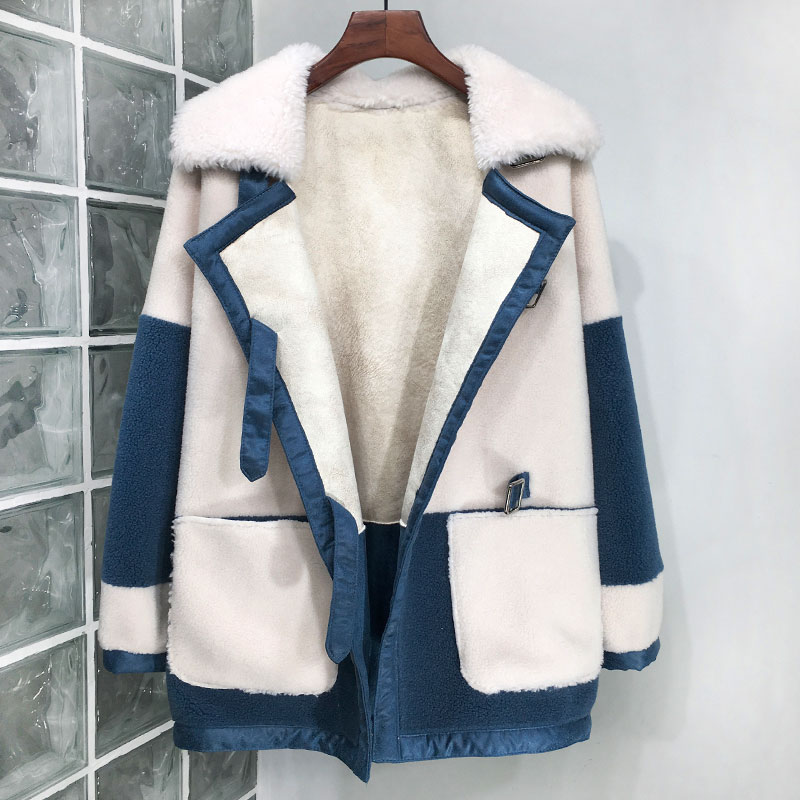 New Granule Wool Coat Women Autumn and Winter 2019 Patchwork Color Turn down Collar Loose Winter Lamb Wool Outerwear Tops in Faux Fur from Women 39 s Clothing
