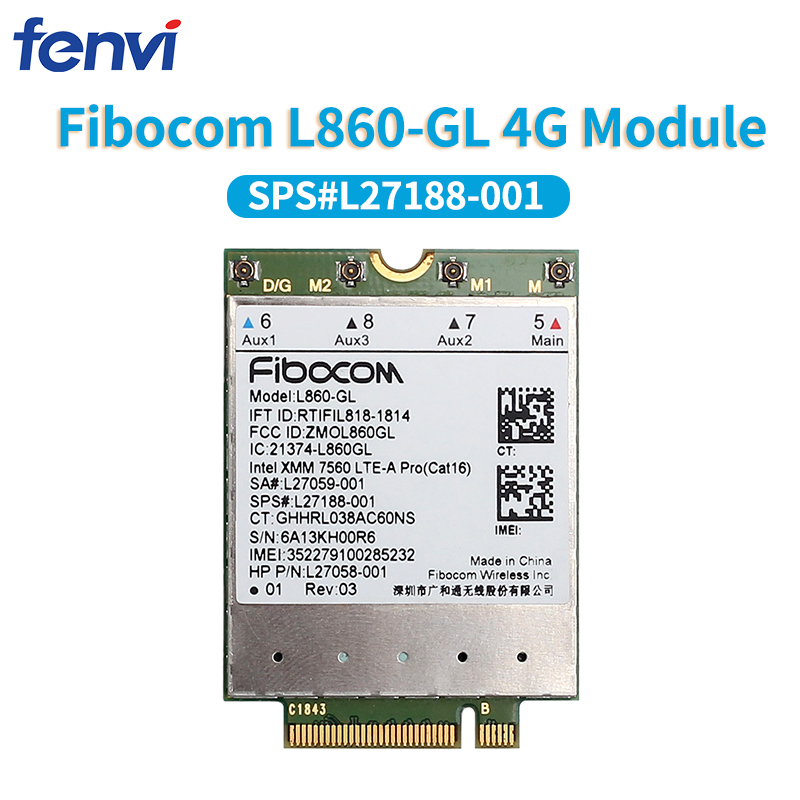 Wlan-Card WWAN 4g-Module X360 L860-GL LTE-A Fibocom Pro Cat16 Wireless for HP Elitebook title=
