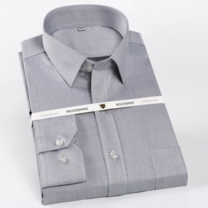 Image 1 - Мужская немнущаяся рубашка с длинным рукавом, Классическая формальная Классическая рубашка из 100% хлопка, с одним накладным карманом, Осень зима 2019