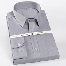 Camisa de manga longa resistente ao enrugamento para homem único remendo bolso 100% algodão formal negócios clássico