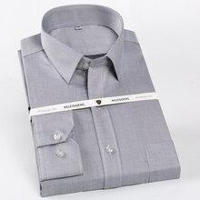 Männer der Regelmäßige Fit Falten Beständig Lange Sleeve Kleid Shirts Einzelnen Patch Tasche 100% Baumwolle Formale Business klassische Tops Shirt