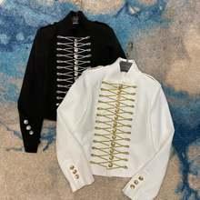 Женский блейзер в винтажном стиле черный белый Повседневный