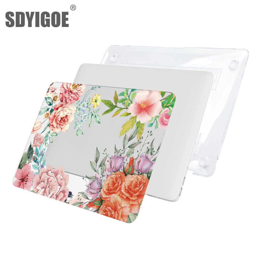 Hard shell Laptop Case For <font><b>MacBook</b></font> air 13pro for Apple <font><b>macbook</b></font> Air13.3 12 15 A1932 A1989 <font><b>A1708</b></font> A1707 A1466 flower Patterned image