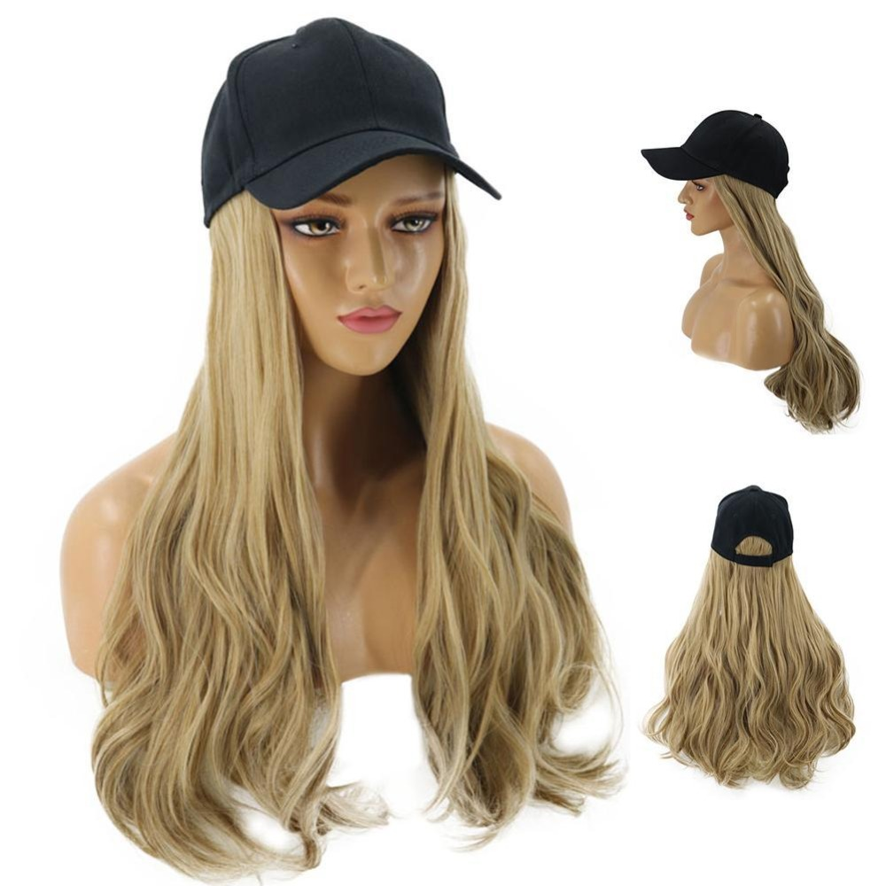 8 Colors Adjustable Women Hats Wavy Hair Extensions With Black Cap All-in-one Female Baseball Cap Hat