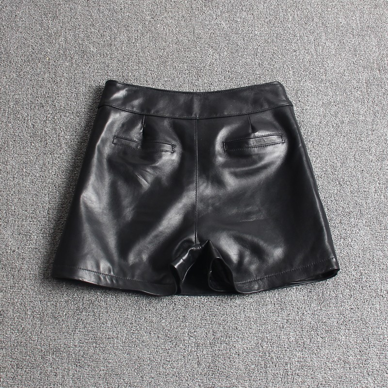 Fashion Women Asymmetric Shorts Skirts Top Quality Sheepskin Real Leather Shorts Casual Streetwear Ladies Slim Fit Shorts Skirts