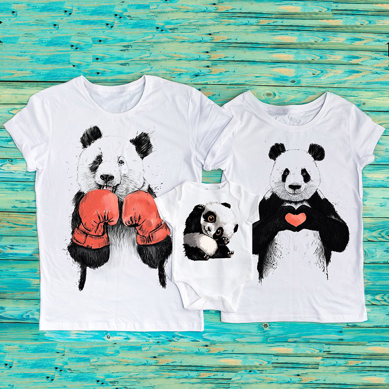 Panda Bear Daddy Mommy Baby Bodysuit Panda Family T-Shirts Matching Shirts Funny Bears Family