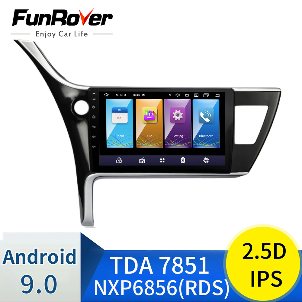 FUNROVER 2 din Android 9.0 IPS+2.5D car dvd gps <font><b>Multimedia</b></font> For <font><b>Toyota</b></font> <font><b>Corolla</b></font> 2017 <font><b>2018</b></font> radio player navigation stereo WIFI RDS image