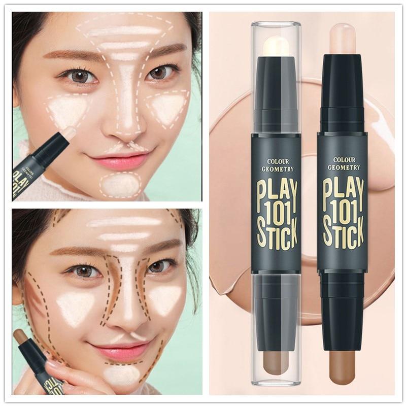 Women Highlighter  Eye Face Concealer Stick Contouring Bronzers Green Pencil Cosmetic 3D Makeup Corrector Contour Stick