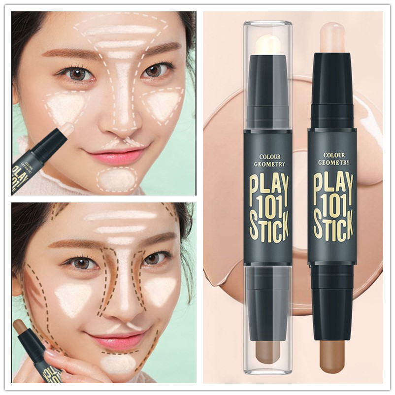 Women Highlighter Eye Face Concealer Stick Contouring Bronzers Green Pencil Cosmetic 3D Makeup Corrector Contour Stick image