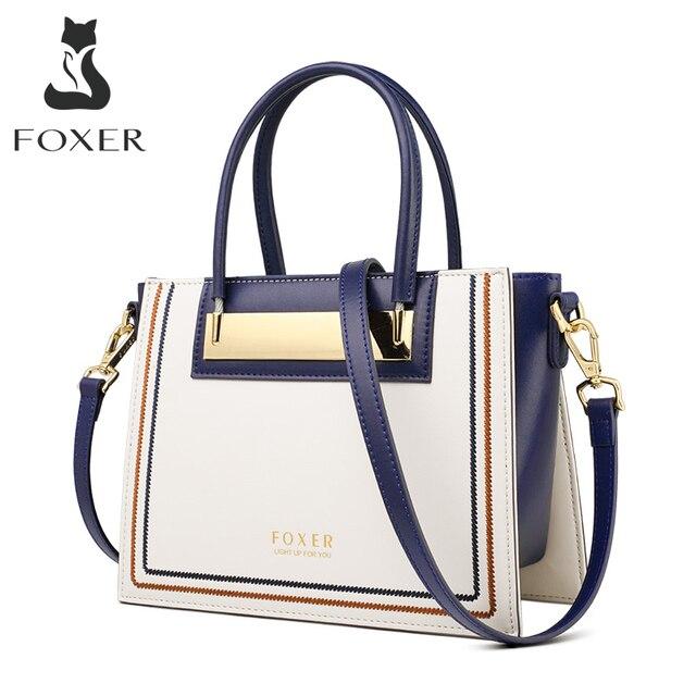 FOXER جلد البقر والجلود مكتب سيدة شيك محفظة فاخرة حقيبة ساع للأزياء الإناث عالية السعة المرأة حقيبة يد أنيقة
