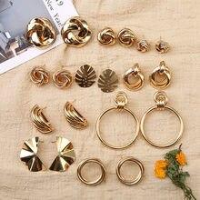 Nova cor de ouro irregular geométrica redonda metal distorção nó brincos para mulheres personalidade jóias festa presentes do vintage