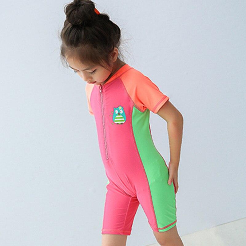 KID'S Swimwear CHILDREN'S Small Children GIRL'S Wetsuit Mixed Colors Diving Suit Zipper Hooded One-piece Swimwear