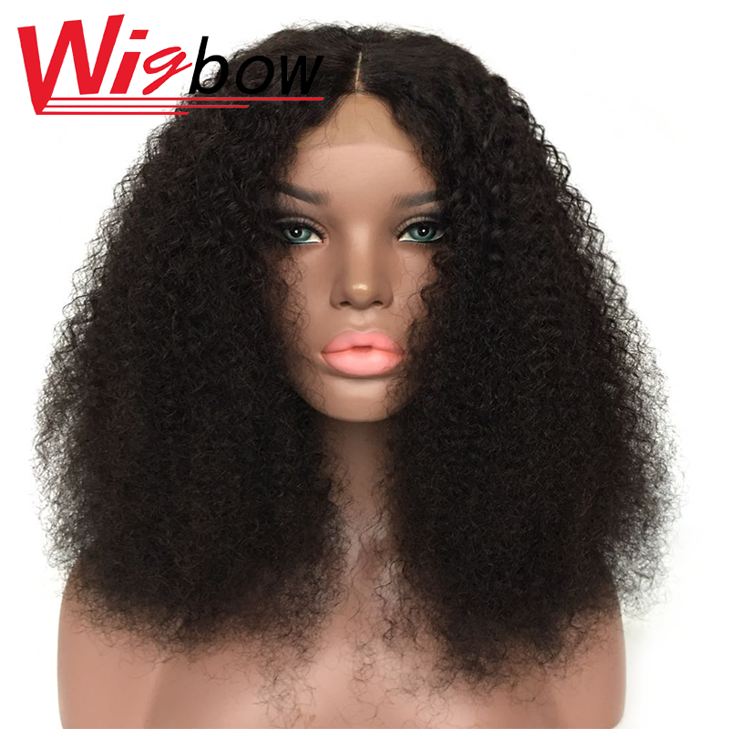 Mongolian Afro Kinky Curly Wig Human Hair Lace Closure Wig For Black Women 4x4 Curly Human Hair Lace Wig Kinky Curly Wig Natural