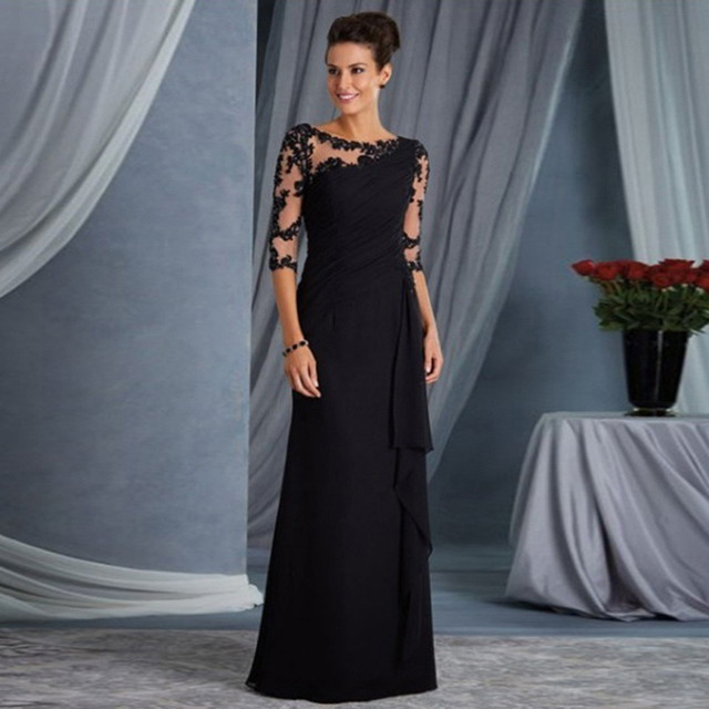 elegant lace sleeved formal gown 1