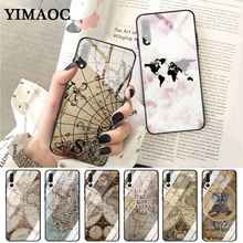YIMAOC Travel in the world map plans Glass Case for Huawei P10 lite P20 Pro P30 P Smart honor 7A 8X 9 10 Y6 Mate 20
