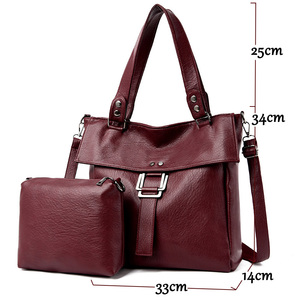 Image 2 - 2 Pc/s Women Leather Handbags High Quality Purses And Handbags 2019 Female Soft Leather Shoulder Bag Sac A Main Tote Bags Women