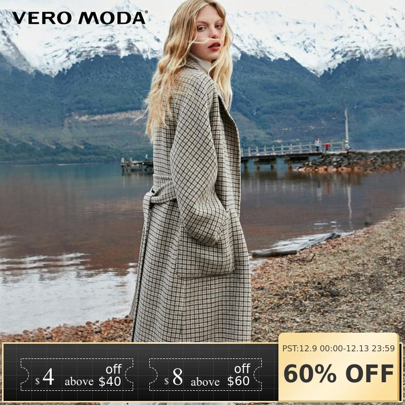 Vero Moda Women's 2019 New Double-sided 100% Wool Long Plaid Woolen Overcoat | 318427508