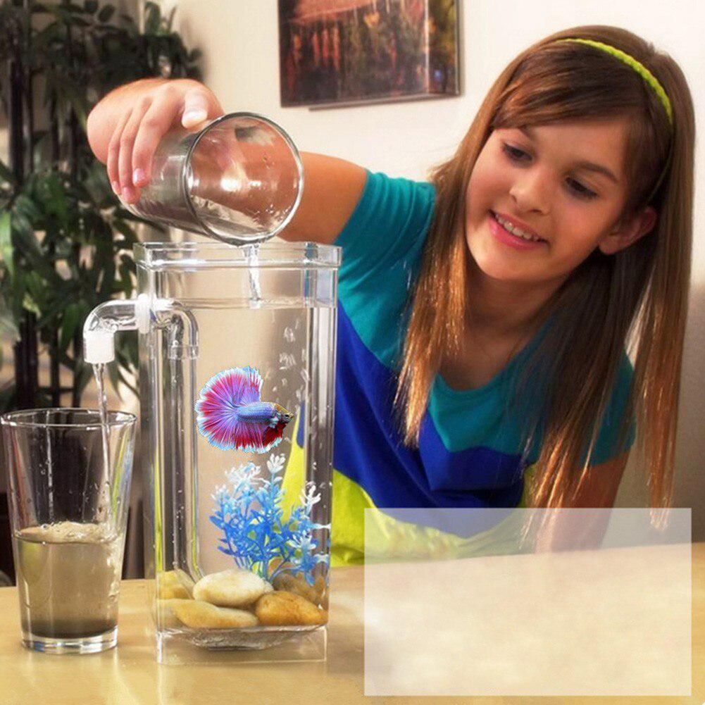 HiMISS Mini Fish Tank Aquarium Self Cleaning Fish Tank Bowl Convenient Desk Aquarium for Office Home