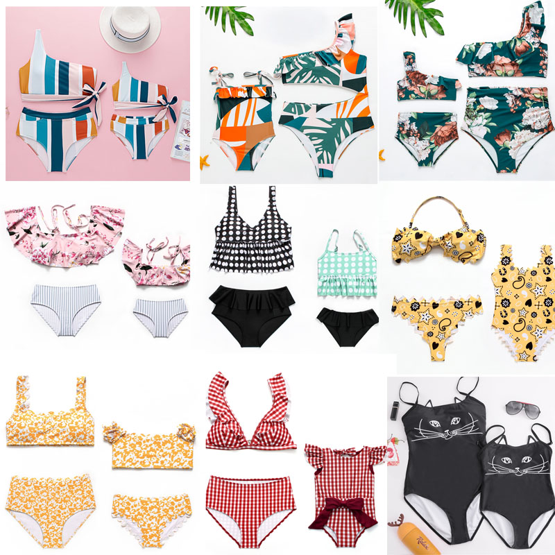 Swimsuit Family Matching Outfits Mother And Daughter Clothes Swimsuits Mommy And Me Bikini Sexy Mum Baby Cute Swimwear Biquini