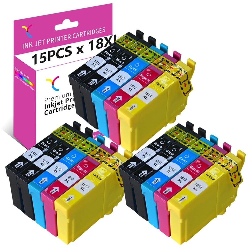 YC 15-пакет для Epson 18XL чернильный картридж Remplacement для XP-202 XP-205 XP-212 XP-302 XP-305 XP-315 XP-402 XP-405 XP-412 XP-415