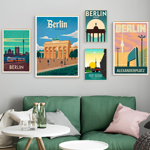 German Capital Berlin Travel Wall Art Posters And Prints Wall Pictures Vintage Picture Kraft PosterDecor Pictures Gife Unframed