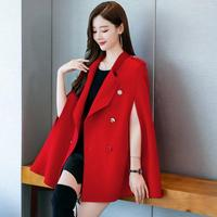 Autumn Winter Cloak Woolen coat women solid color Double breasted cape Temperament Woolen Coat Female Overcoat r2137