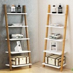 Étagère de rangement nordique en bois massif | Étagères de livres à 3/4 couches, support pour échelle en bois sur le sol, organisateur mural pour étagères de ménage, étagère de rangement