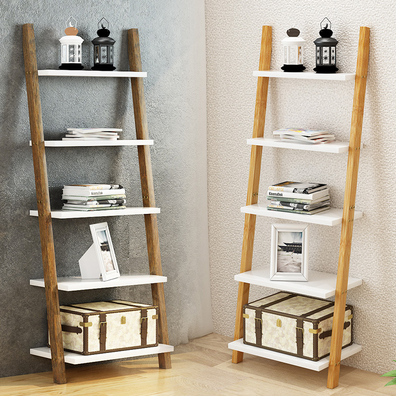 3/4 Layers Nordic Solid Wood Book Shelves Floor Brief Wood Ladder Stand  Wall Shelf Organizer  Housewares  Plates Storage Rack