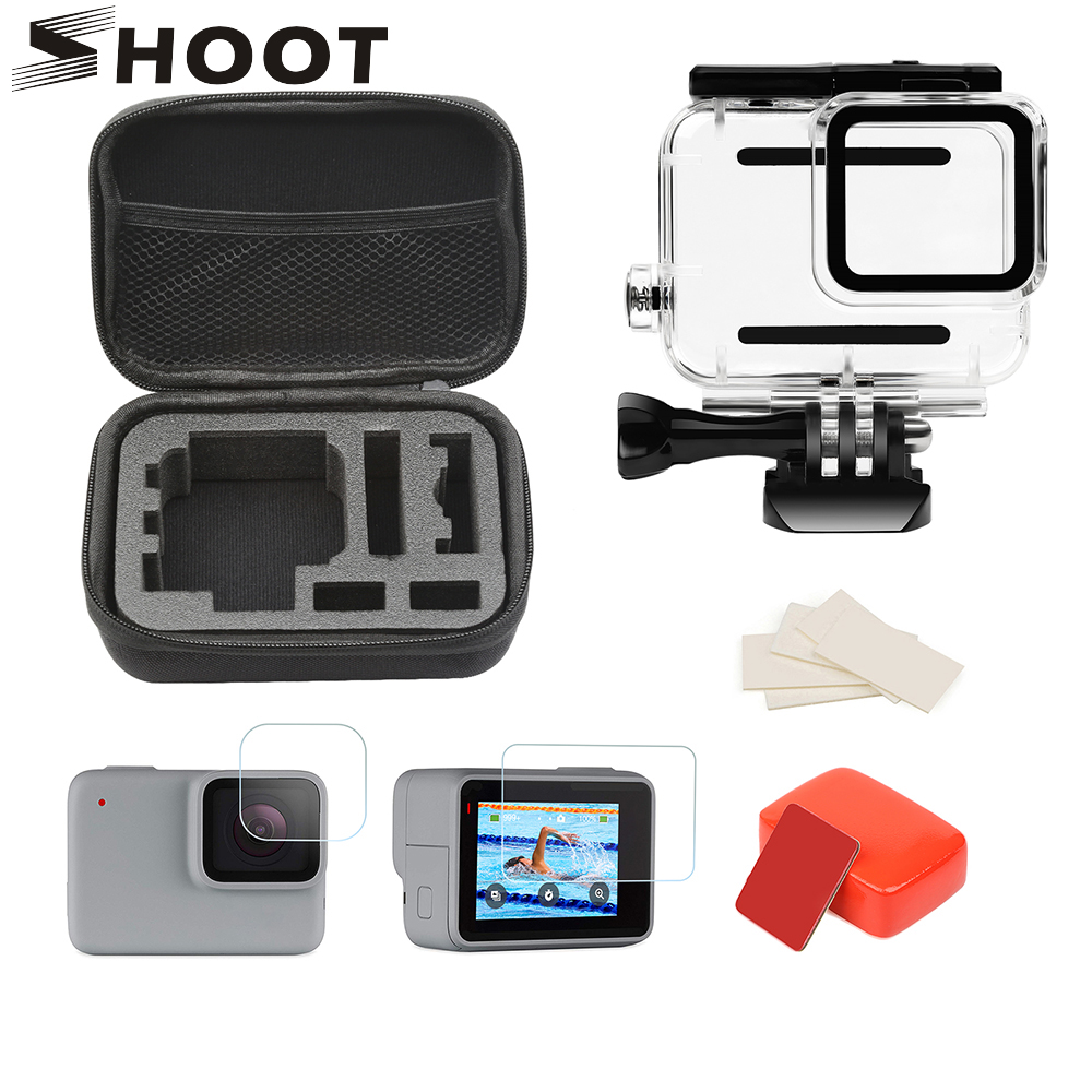 SHOOT 45M Waterproof Case Accessories Set For GoPro Hero 7 Silver White Action Camera Housings Mount For GoPro Hero 7 Accessory