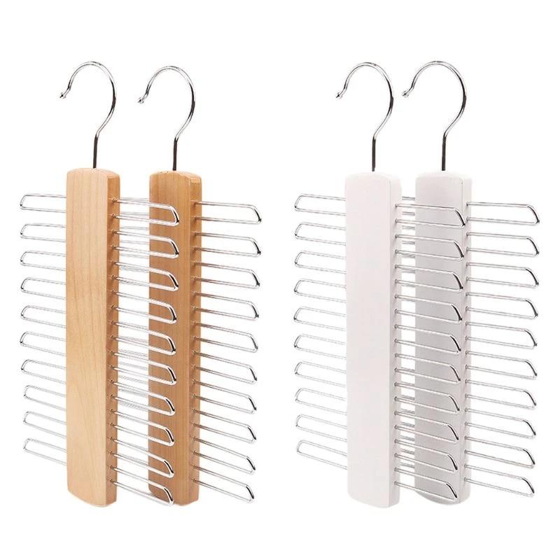 wooden 20 bar tie rack hanger scarf belt accessory organiser