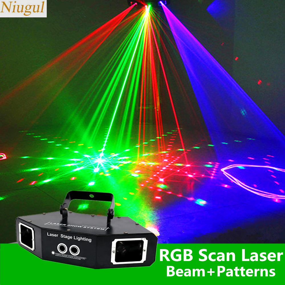 4 Lens Scan Laser Light RGB Full Color Lines Beam With Pattern Laser Home Party DJ Great Effects Stage Light DMX Scan Projector