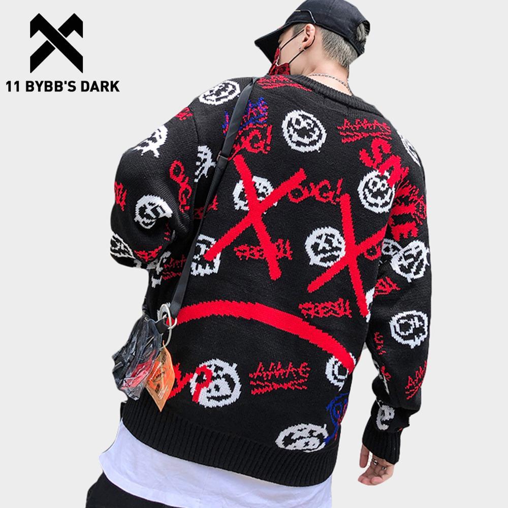 11 BYBB'S DARK Japanese Knitwear Men Sweaters Harajuku Streetwear Funny Pattern Print Hip Hop Pullovers Knitted Black Sweater