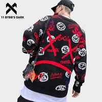 11 BYBB'S foncé japonais tricots hommes chandails Harajuku Streetwear drôle motif imprimé Hip Hop pulls tricoté noir pull