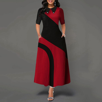 A Line Color Block Office Long Dress Elegant Women Lapel Collar Half Sleeve African Ladies Autumn Party Dresses Female Summe 1