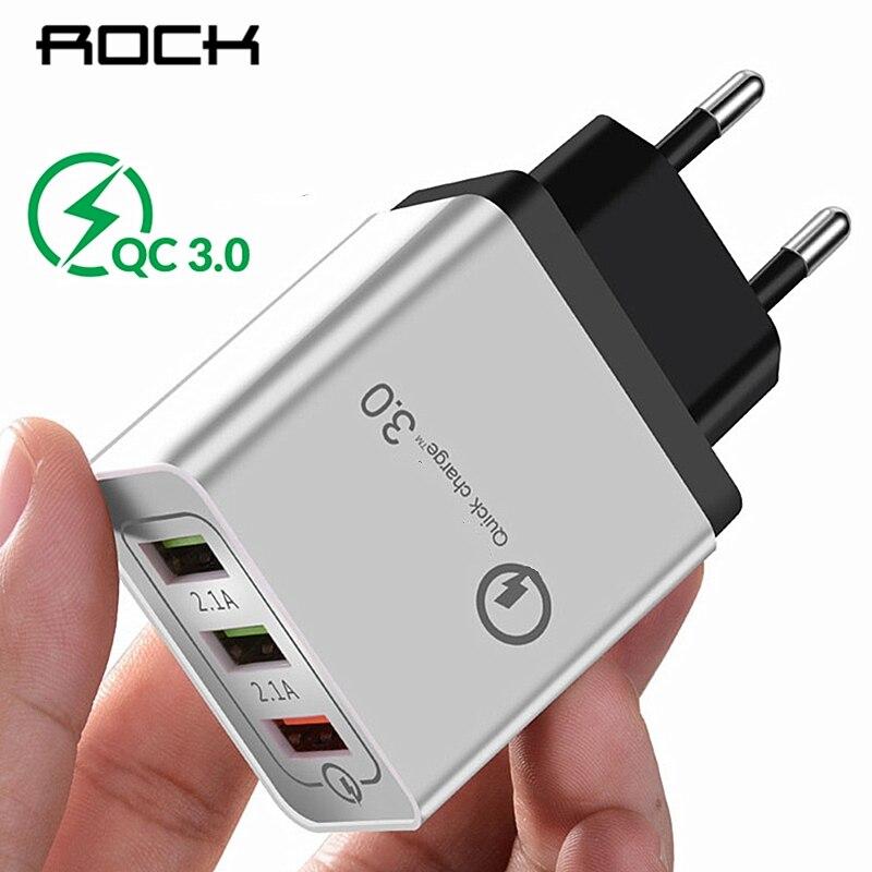 US $3.56 50% OFF|Szybkie ładowanie ROCK QC 3.0 Smart Fast 3 ładowarka ścienna USB do telefonu komórkowego Xiaomi Samsung Quick Charge|fast charge|dual