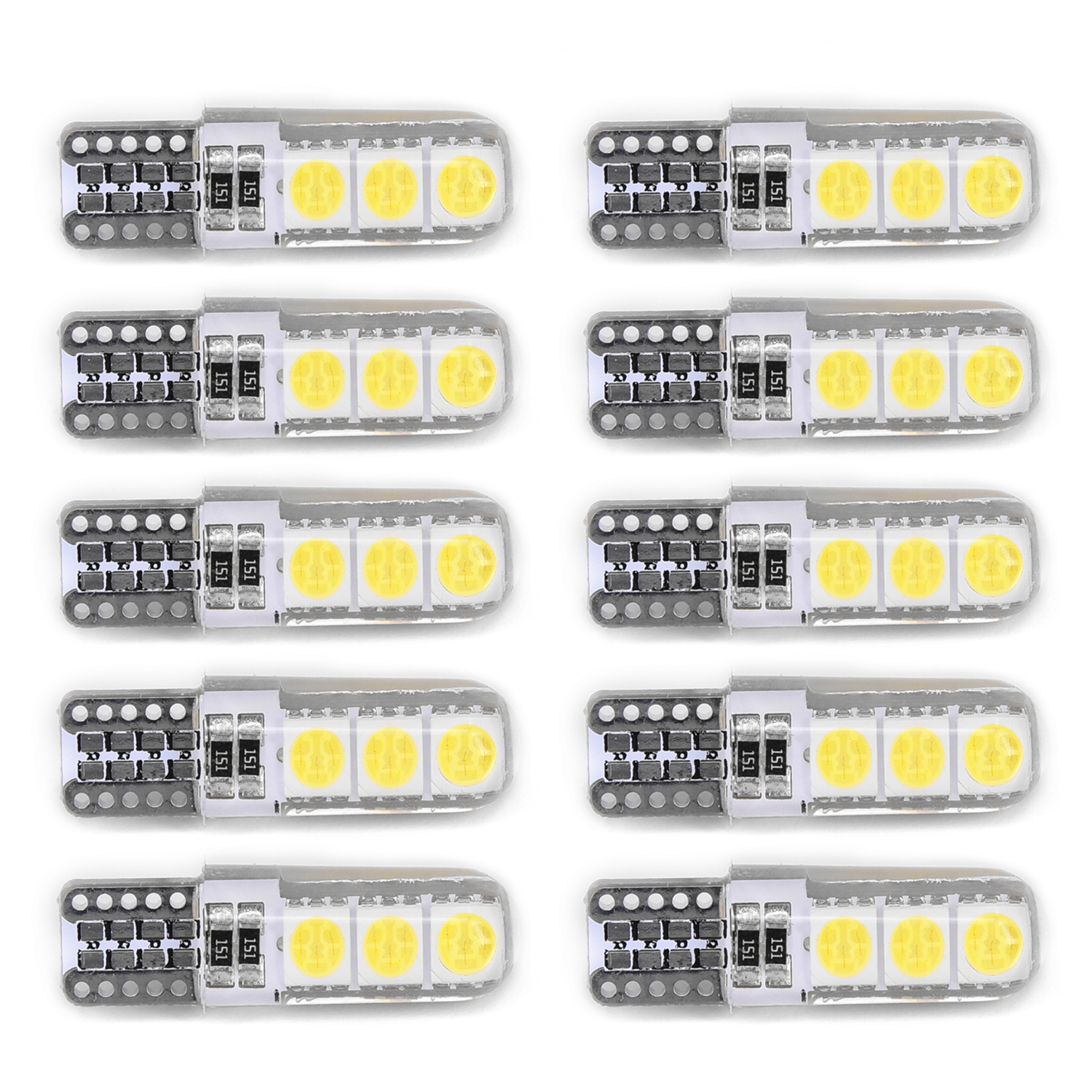 Hot Sale 10pcs T10 194 W5W T10-5050-6SMD Silicone Shell Canbus Car LED Side Wedge Lights Brand New And High Quality