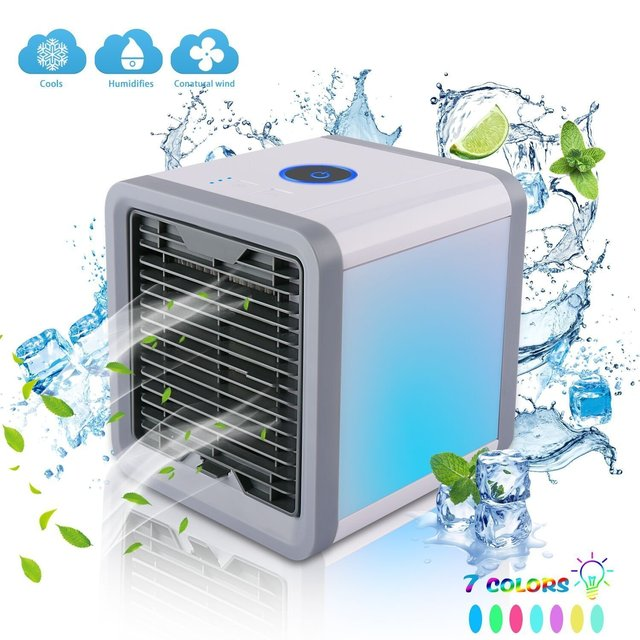 Mini USB Portable Air Cooler Fan Air Conditioner 7 Colors Light Desktop Air Cooling Fan Humidifier Purifier For Office Bedroom 1