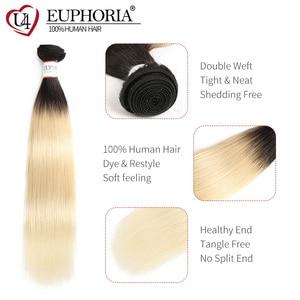 Image 4 - Cheveux péruviens droits blonds 1/3/4 pièces Ombre Blonde 1B 613 couleur Remy Extensions de tissage de cheveux humains pour les femmes euphorie