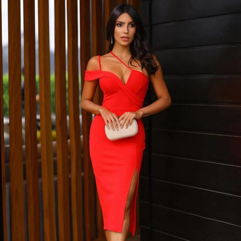 Ocstrade 2020 New Summer One Shoulder Bandage Dress Women Sexy Sleeveless Red Bodycon Club Evening Party