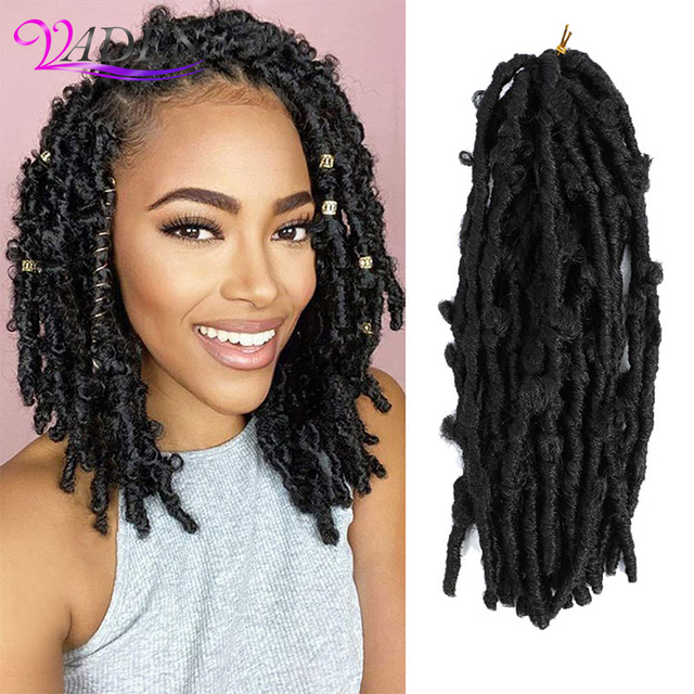 Butterfly Faux Locs Crochet Goddess Braids Synthetic Hair Extensions 20 Strands/pack 14inch Natural Black Braiding Hair BY195 1